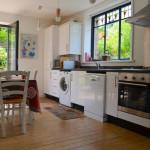 Kitchen area with garden beyond